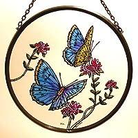 Decorativa pintada a mano Vidriera ventana Sun Catcher/Pop Art products en un diseño de mariposas, color azul