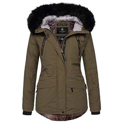 Navahoo Designer Damen Winter Parka Jacke warme Winterjacke Mantel B375