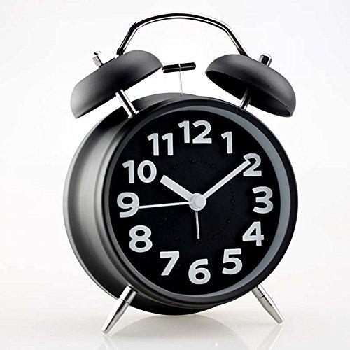 Moda Bell alarm clock/ sveglia carina creativo/ silent night light alarm clock-nero
