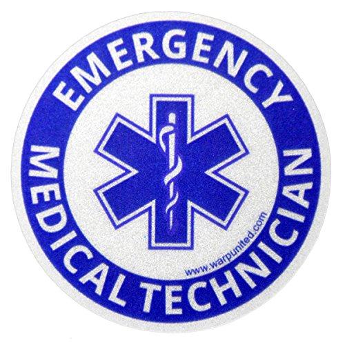 Pegatina redonda reflectante EMT de 10,16 cm para técnico médico de emergencia en casco, equipo, vehículo, impermeable, desinfectable, tamaño mediano