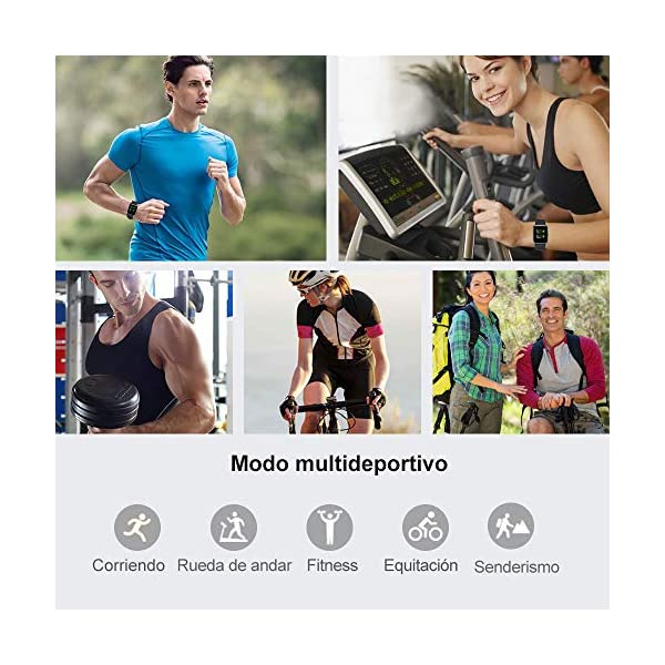Willful Smartwatch Impermeable Reloj Inteligente con Pulsómetro, Pulsera Inteligente para Deporte con Cronómetro, Podómetro. Smartwatch Hombre Mujer Niños para Android iOS Xiaomi Huawei iPhone 3