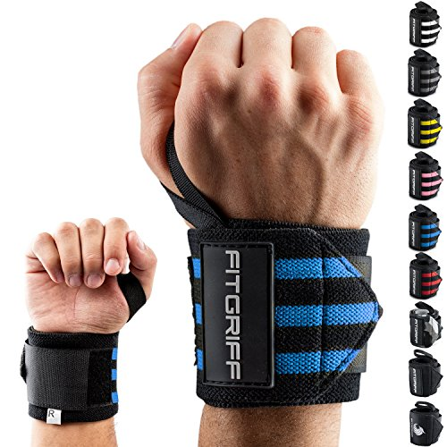 Fitgriff® Handgelenk Bandagen [Wrist Wraps] 45cm Handgelenkbandage für Fitness, Bodybuilding, Kraftsport & Crossfit - für Frauen und Männer (Fitness-studio Tragen)