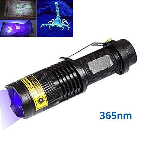 UV 365nm Torcia a luce ultravioletta 3W LED Zoomable Nero Luce portatile per rilevamento di contraffazioni Verifica di documenti Fotografia e identificazione del liquido corporeo