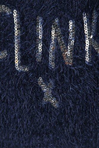 Donna Soffice A Maglia Lustrini Slogan Novità Maglione Natalizio Dress Blues - Blu Navy