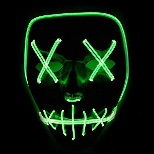 ToWinle Halloween Masken Festival Party Cosplay LED Leuchten Maske Karneval Maske Halloween Accessoires Grimasse Maske Batterie Angetrieben(Nicht Enthalten)
