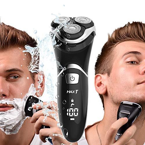 Max-T Elektrorasierer Herren Testsieger, Reiseverriegelung & Digital Power-Anzeige, Ipx7 Wasserdicht Rasierapparate Trocken & Nasse Rasur Trockenrasierer,RMS8101 (Adapter Charger)