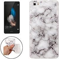 Huawei P8 Lite Marmor-Hülle weich weiß [ TPU Case Marmormuster Optik ] Smartphone Schutzhülle Cover Marble Muster Marmor Design | Movoja® | weich-schwarz-Marmor