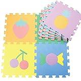 Meitoku Alfombra de Goma EVA para niños con puzle. 9 alfombras de 30 x 30 x 1 cm. Diseños de Alimentos.