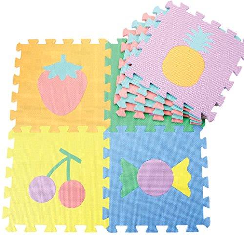 Alfombra de goma EVA para niños. Puzzles en cada pieza. 90 x 90 x 1 cm. Diseños de Frutas.