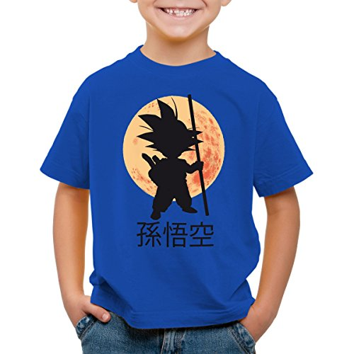 style3 Goku Moonlight Camiseta para Niños T-Shirt, Color:Azul;Talla:128