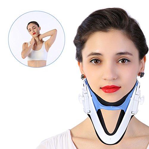 Orthopädische Nackenstütze (Cervicalstütze Halskrause mit Kinn stütze Verstellbare Nackenstütze Hals Traktion Zervikale Traktionsfixierung Wirbelsäule Pflege Korrektur Schutz Schmerzlinderung)