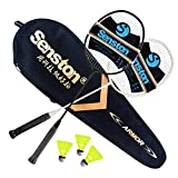 Senston 2 Player Carbon Alloy Badminton Racket Set, lightweight 100% Graphite Shaft, Premium Badminton Bag, Replacement Racquet grip, Badminton shuttlecock