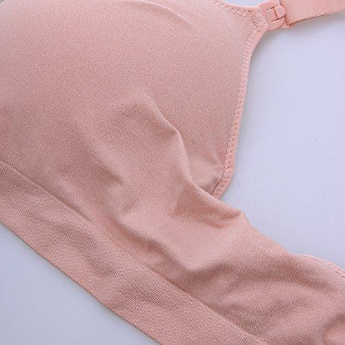 La Cabina Brassière d'Allaitement Soutien Gorge Maternité -Soutien Gorge Sport Push Up-Soutien Gorge Sans Armature-Sous-vêtements Maternité pour Femme Enceinte Rose