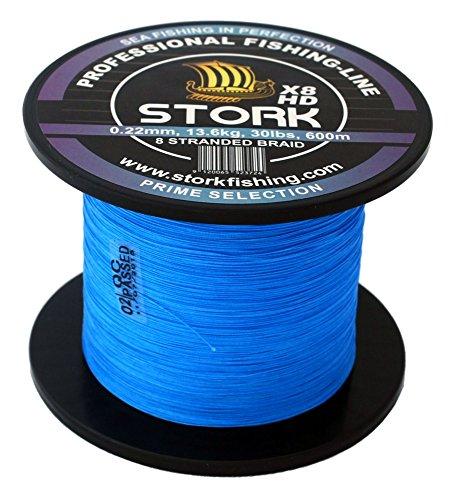 Stork HDx8, 8-Fach geflochtene premium Angelschnur 600m (Blau, 30 lbs / 13.6 kg / 0.22 mm)