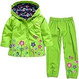 Timlung Kinder Mädchen 2tlg Bekleidungsset Regenjacke mit Kapuze + Regenhose, Grün, Gr.86/92(Herstellgröße: 90CM)