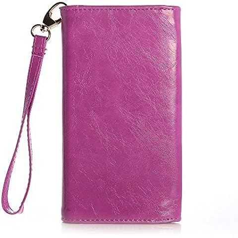 Funda universal Alcatel One Touch Pixi/Pixi2/Pop Astro/Snap/Star tipo cartera Flirt de Cooper Cases(TM) en Morado (Asa para muñeca, ranuras para tarjetas de crédito y carnets de identidad, bolsillo y monedero con cremallera)