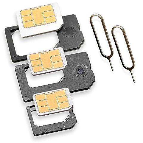 Nano Sim und Micro Sim Adapter KOMPLETT-SET (5er-SET) mit 2x Simnadel Eject Pin, Adapter sind zur Verwendung von NanoSIM und MicroSIM Karten als Micro Sim oder normale Sim Karte für alle Handys im Charmate®