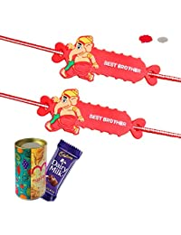 Maalpani Rakhi Love Brother Sister Bhaiya Bhabhi Gift Set - Rakhi and Chocolate Gift Hamper (Set 1)