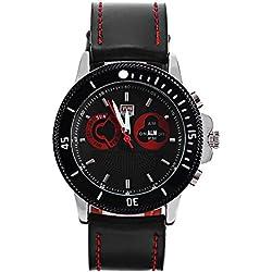 Leopard Shop TVG 469 Digital Quartz Sport Wristwatch Double Movt Men Watch Day Alarm Luminous LED Display Chronograph Black