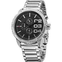 Alienwork Quartz Watch XXL Oversized Wristwatch Water Resistant 3ATM Metal black silver OS.WH-3310-1