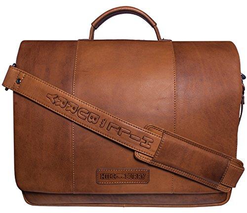 Hill Burry Echt-Leder Leder Aktentasche | aus hochwertigem Rindsleder | Aktentasche Notebooktasche Arbeitstasche | Umhängetasche Lehrertasche Businesstasche Vintage Unitasche (Braun) (Aktentasche Rindsleder)