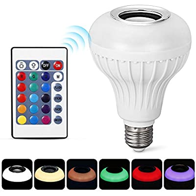 EleLight Light Bulb Speaker LED E27 Wireless Music12W 220V Bulb RGB Bluetooth Lamp Lighting Remote Control Light for Stage, Home, Bedroom, Party [Energy Class A++] by HYE