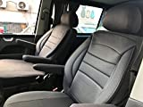 seatcovers by k-maniac Sitzbezüge Fahrersitz Beifahrersitz Armlehnen Design T49 grau