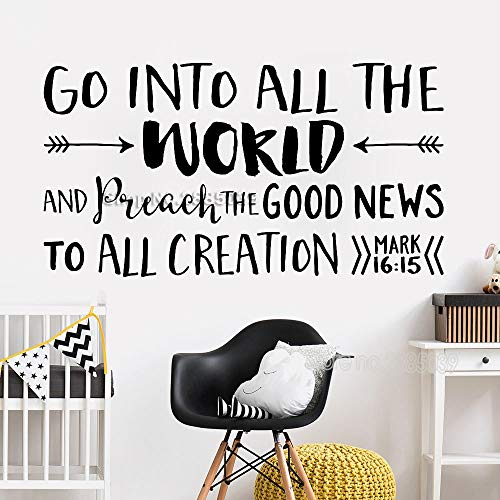 Gehen Sie in alle Mark 16:15 Zitat Kirche Dekor Wand Stckers Vinyl Schriftzug Wandtattoo Religiöse Tapete Worte Poster 42x78cm -