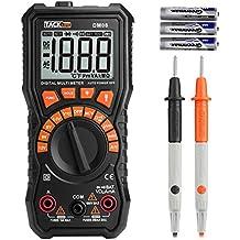 Multimetro Digitale, Tacklife DM08 2000 Counts per Test di Batteria di 1.5V/6V/9V/12V e Corrente e Tensione AC / DC. Tester Elettrico con Voltmetro, Amperometro, Si Può Misurare Corrente Minima