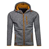 Beginfu Mens Herbst Winter Casual Reißverschluss Langarm Hoodie Mantel Lange Hülse Patchwork Kapuzenpullis Slim Fit Sport Casual Jacket Outwear Dick Warm Wintermantel mit Pocket