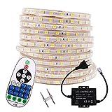 XUNATA 15M 220V 230V Dimmbar 5050 SMD 60leds / m IP67 Wasserdicht Warmweiß Flexibles LED Lichtschlauch mit 23 Key Fernbedienung für Küche Stairway Home Weihnachten Party Deko (Warmweiß, 15m)