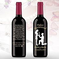 50 Botellas de vino Tinto (3/8) decorada directamente sobre vidrio con dibujo