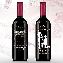 50 Botellas de vino Tinto (3/8) decorada directamente sobre vidrio con dibujo de Pareja de novios con el novio ofreciendo flor a la novia, para detalles de ...