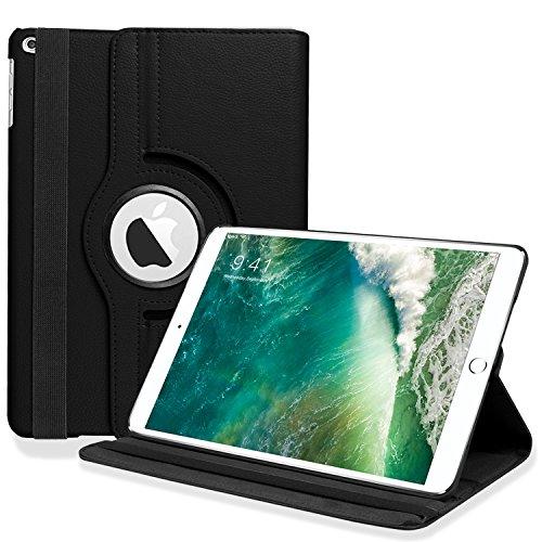 iPad 9.7 2017 / iPad Air Hülle [Auto Schlaf / Wach Funktion], HZSSEC 360 Grad Rotierend PU Leder Schutzhülle Tasche mit Leichte Ständer für Apple iPad 2017 9,7 Zoll Neue Modell / iPad Air 2013 Modell, Schwarz (Apple Ipad 360 Fällen)
