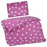 Aminata Kids Kinder-Bettwäsche 100-x-135 cm Stern-e Star Sternchen Baby-Bettwäsche 100-% Baumwolle Renforce Fuchia rosa pink Weiss Mädchen