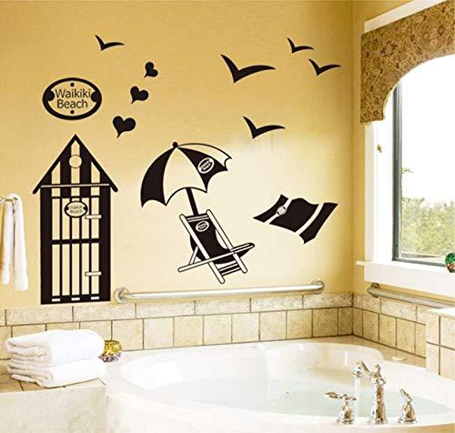Qjhdg Strandliege Aufkleber Wohnzimmer Schlafzimmer Sofa Dekorative Wandaufkleber Englische Buchstaben Abnehmbare Wandbilder 60X90Cm