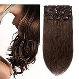 10 Pcs Extension a Clip Pas Cher Cheveux Naturel en Lot Volume Moyen #04 Châtain - 100% Human Hair Extensions Clip in Remy - 16'18'20'