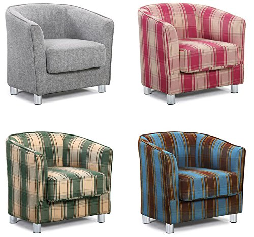Vegas Modern Stylish Fabric Upholstered Grey U0026 Tartan Tub Chair ...