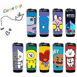 DJHFJ Botella de Agua BTS Bangtan Boy BTS Rap Monster BTS Jimin BTS Jin BTS Suga BTS Jungkook BTS Koya BTS V BTS J Hope Taza Curva DIY para los fanáticos de BTS 1 PC (Cooky)