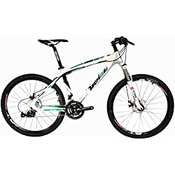 BEIOU® Toray T700fibra de carbono bicicleta de montaña completa bicicleta MTB 27velocidad para rueda Shimano 370CB004, verde