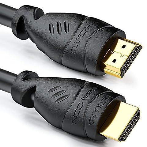 deleyCON 10m câble HDMI HDMI 2.0 / 1.4 compatible High Speed avec Ethernet (standards les plus récents) ARC 3D Ultra HD (1080p/2160p)