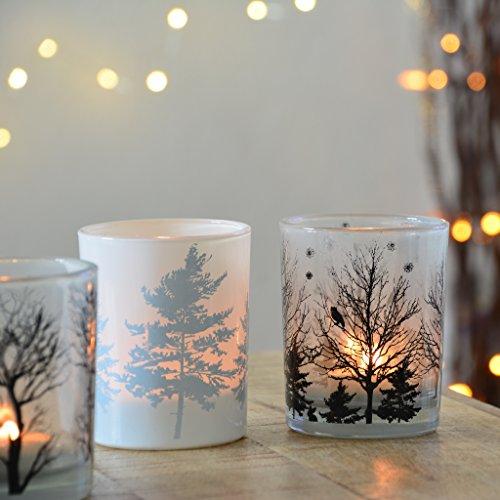 Vier große Teelichter aus Milchglas Windlicht candle Kerze Deko Herbst