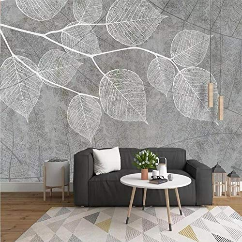 3D Vlies Tapete Personality Künstlerische Malerei 3D Photo Wallpaper Nordic Modern Hand Painted Grey Leaf Mural Wall Papers Home Decor Living Room Bedroom Murals Wallpaper@250 * 175 -