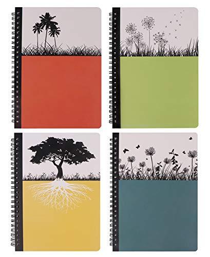 Hardcover Spiral-Notizbuch, Dream Tree Tagebuch, blanko, Kompositions-Notizbuch, College, liniert, 80 Blatt, 14 x 21 cm, 4 Stück Dream Tree, 4 Pack, Large