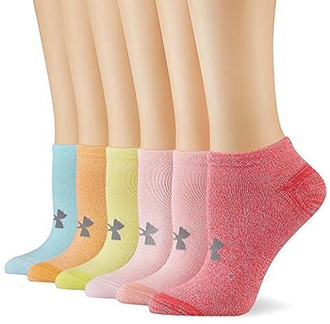 Under Armour Women's UA Essential Cotton NS 6PK Socks, Assorted, Medium
