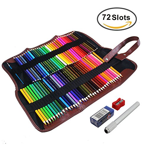 Feelily 72 Farben Aquarell Bleistift Set / Zeichnung Kunst Wasserlösliche Buntstifte Supplies Roll UP Waschbare Leinwand Bleistift wickeln für Artist Sketch, Aufrollbare Canvas Pencil Case Included