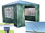 Airwave 3 x 3 m Party Tent Gazebo Marquee with Unique WindBar and Side Panels 120g Waterproof Canopy, Green, 120g
