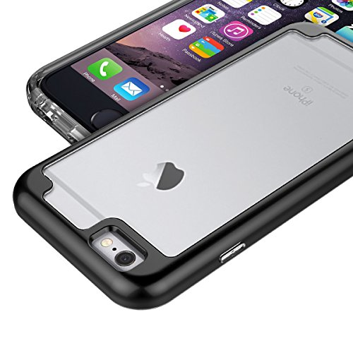 GrandEver iPhone 6 Plus/iPhone 6S Plus Weiche Bumper & Hart Durchsichtige Rückschale Hülle Ultra Hybrid Hartschale Transparent Schutzhülle Backcover Slim Silikon Rahmen Rückseite Dünn Protective Soft  Schwarz