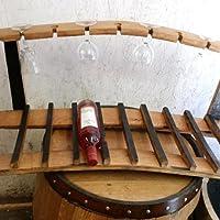 Rastrelliera per vino in solido legno di quercia, con porta