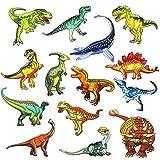 Woohome Patches zum Aufbügeln, 14 Stück Dinosaurier Aufnäher Applikation Flicke Nähen Sie Dekorationsapplikationen Aufkleber für Jeansjacke, Kleidung, Mützen, Reparieren Sie Das Loch